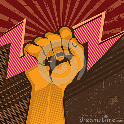 Powerful fist with flash