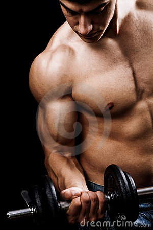 Free Powerful Muscular Man Lifting Weights Stock Photo - 12781730