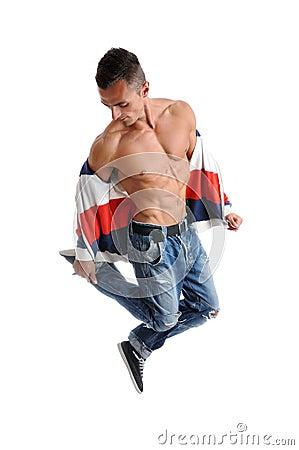 Powerful muscular man posing