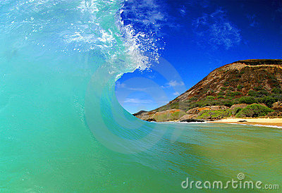Powerful Ocean Energy Surfing Wave