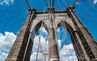 Powerful structure of Brooklyn Bridge Center Pylon on a beautifu