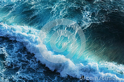 Powerful waves in blue ocean