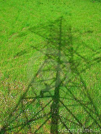 Free Powerline. Shadow On The Grass Royalty Free Stock Photography - 6650177