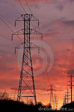 Free Powerline Tower On Sunset Stock Image - 2223631
