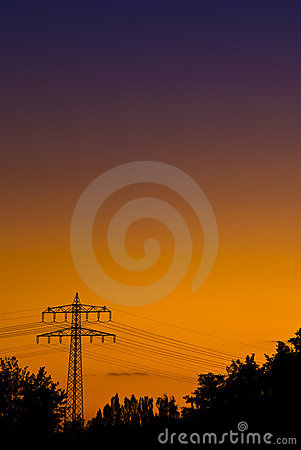 Free Powerpole In Orange Purple Sunset Light Royalty Free Stock Images - 11412969