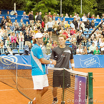 Poznan Porshe Open 2009 - Schukin-Luczak handshake Editorial Stock Photo