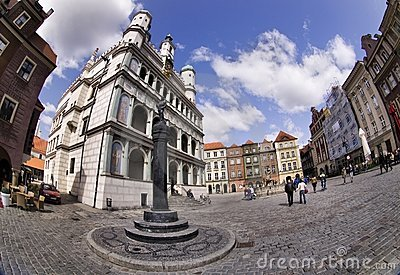 Poznan Town Hall and Old Town Editorial Stock Photo