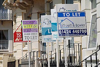 Pozwalać majątkowego signage Zdjęcie Editorial