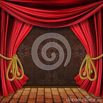 Öppnat rött arrangerar gardiner