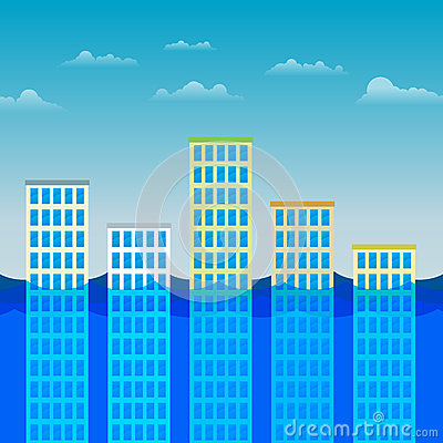 Prédios de escritórios que sobrevivem à inundação