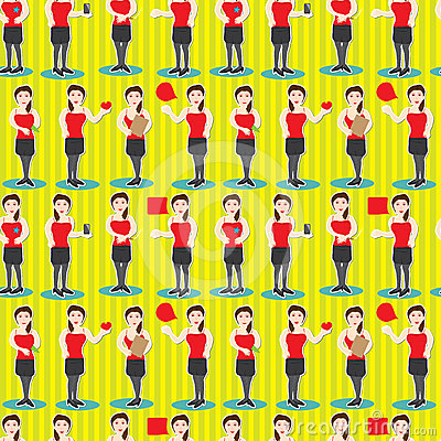 PR Girl Job Seamless Pattern_eps