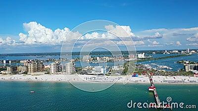 Prachtige luchtfoto van Clearwater Beach Florida stock videobeelden