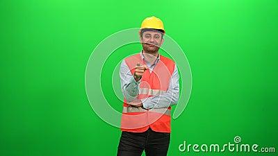 Pracowników Budowlanych punktów palec przy kamerą zbiory wideo