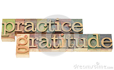 Practice gratitude in wood type