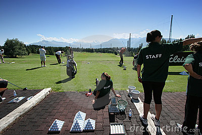 Practice staff in Crans-montana golf Masters Editorial Photography