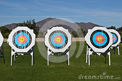 Practice targets at archery field no shadow