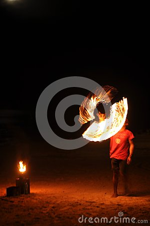 Practicing flame juggler