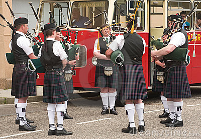 Practicing for the Highland Games. Editorial Stock Photo