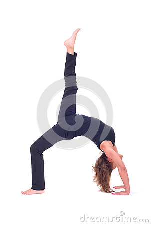 Practicing yoga exercises yoga bridge pose urdhva dhanurasana