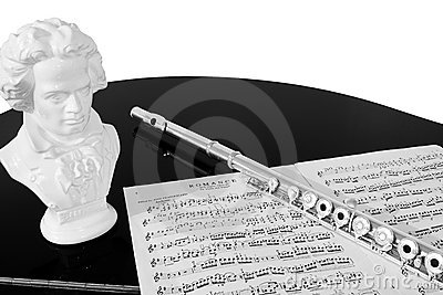Practising the Flute (Black and White)