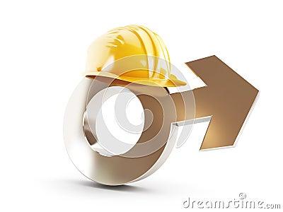 Pracuje dla mężczyzna, symbolu mężczyzna budowy hełm