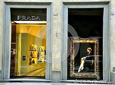 Prada fashion boutique in Italy  Editorial Image