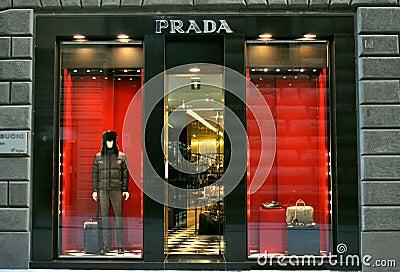 Prada fashion boutique in Italy Editorial Stock Image