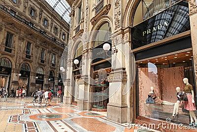 Prada Store in Milan Editorial Stock Photo