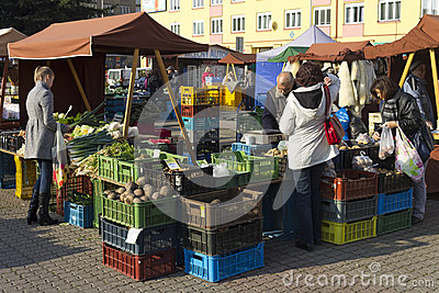 Prague autumn farmers markets Editorial Image