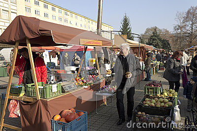 Prague autumn farmers markets Editorial Stock Photo