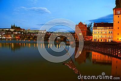 Prague buildings on riverfront