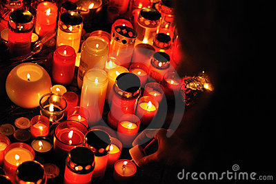 Prague, candle lights for Vaclav Havel Editorial Photo