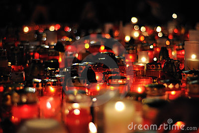 Prague, candle lights for Vaclav Havel Editorial Photography