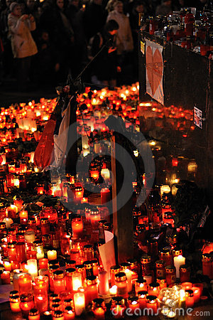 Prague, candle lights for Vaclav Havel Editorial Image