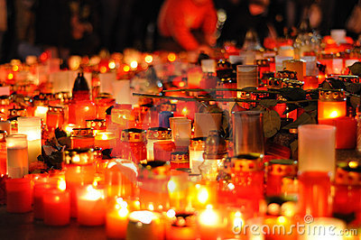 Prague, candle lights for Vaclav Havel Editorial Stock Photo