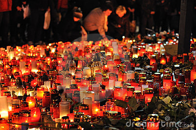 Prague, candle lights for Vaclav Havel Editorial Stock Image