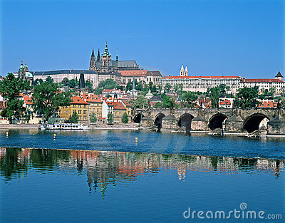 Prague Castle across the river Vltava