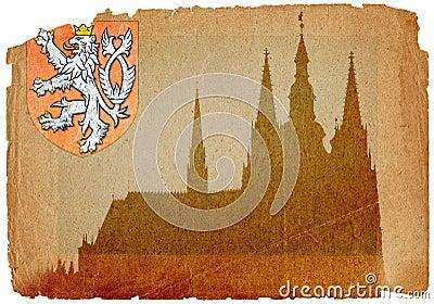 Prague castle in grunge style