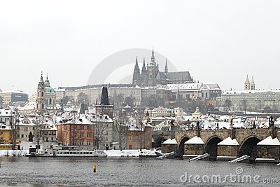 Prague castle in the winter