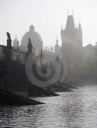 Prague - charles bridge in fog