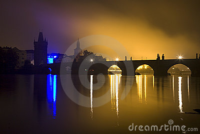 Prague - Charles bridge in the night