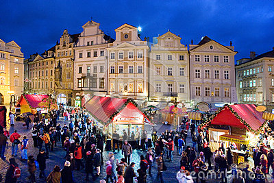 Prague Christmas market on Old Town Square in Prague, Czech rep