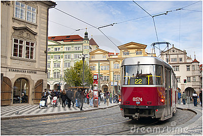 Prague city centre tram Editorial Photography