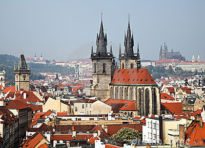 Prague, city skyline view and the Powder Tower
