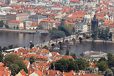 Prague City View from Petrin lookout tower