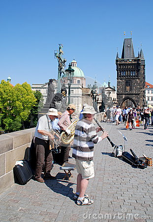 Prague, Czech Rep: Musicians on Charles Bridge Editorial Stock Image