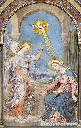 Free PRAGUE, CZECH REPUBLIC - 2018: The Fresco Of Annunciation In The Church Kostel Svatého Cyrila Metodeje By Petr Maixner Royalty Free Stock Image - 134890726