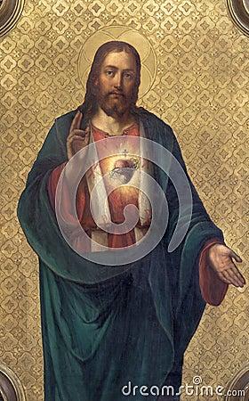 Free PRAGUE, CZECH REPUBLIC - OCTOBER 13, 2018: The Painting Of Heart Of Jesus Church Kostel Svatého Václava By Unknown Artist Royalty Free Stock Photos - 134929008