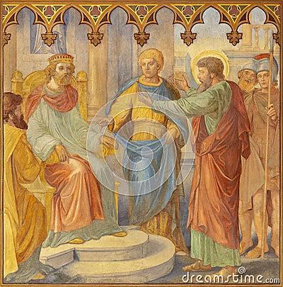 Free PRAGUE, CZECH REPUBLIC - OCTOBER 15, 2018: The Fresco Judgment Of St. Paul Before Agripa In Church Bazilika Svatého Petra A Pavla Stock Image - 137513931