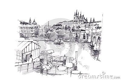 Prague dessin au crayon de main de r publique tch que - Main dessin crayon ...